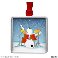 snowman on a drum set tree ornament snow din