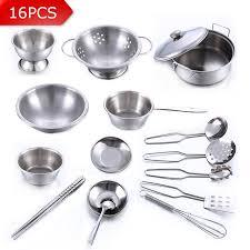vaisselle cuisine 16 pcs en acier inoxydable enfants cuisine jouets miniature cuisson