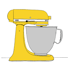 Yellow Kitchen Aid - sloe gin fizz drawing in the kitchen
