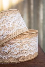 burlap ribbon wired with ivory lace overlay 2 5 in x 10 yd