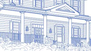 drawing of beautiful house transitioning back to reveal finished