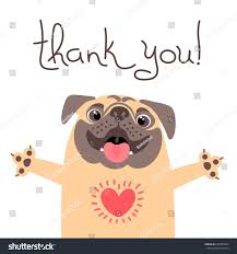 cute dog says thank you pug stock vector 668703424 shutterstock