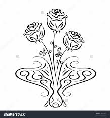 flower vase drawing rose flower vase drawing rose printable vase