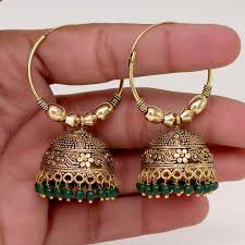 punjabi jhumka earrings buy rajasthani gold plated green colour fashion jhumka style