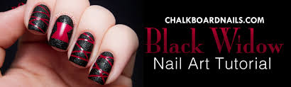 tutorial black widow spider textured nail art chalkboard nails