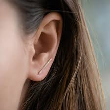 ear climber earring diamond bar ear climber earrings in 14k yellow gold shane co