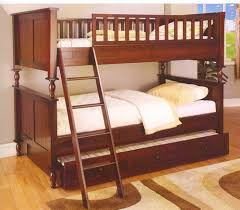 Bunk Beds Trundle Cherry Wood Bunk Bed With Bed Trundle