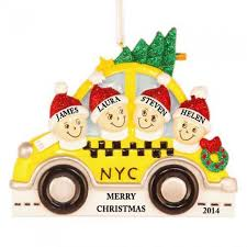 nyc taxi family of 4 personalized ornament and