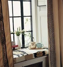 Greek Key Pattern Curtains Key Edges Beige Window Curtain