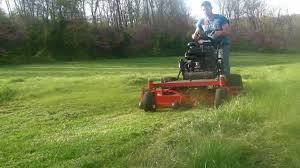 commercial exmark walkbehind lawn mower cuts thick green grass