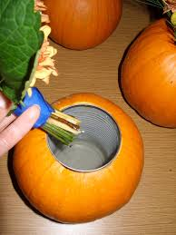 add a can inside a pumpkin to hold water great for an autumn
