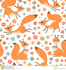 little cute squirrels on flowers meadow seamless spring or summer