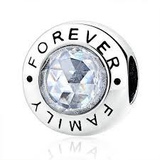 european sterling silver charm bracelet images Family sterling silver charm beads with clear cz bead fits jpg