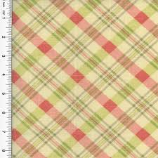 Pink Home Decor Fabric Designer Cotton Pink Green Chit Chat Plaid Print Home Decorating