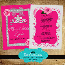 Shop Invitation Card Pink Roses U0026 Silver Quinceanera Invitations With Back Printing