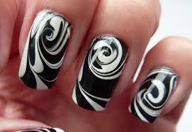 nail art water marble for short nails black white swirl nail art