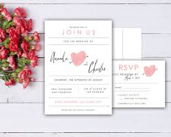 wedding invitations and rsvp fingerprint heart wedding invitation and rsvp card set made