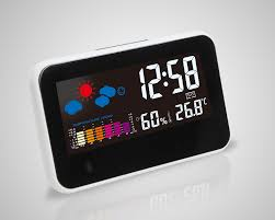 digital electronic alarm clock weather temperature humidity voice