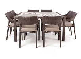nico square wood top patio dining table for 8 people ogni