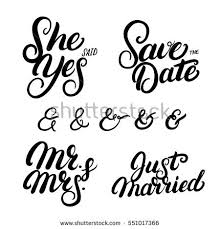 wedding quotes to set written lettering wedding quotes stock vector 551017366