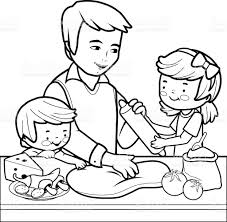 best father and children cooking pizza in the kitchen coloring