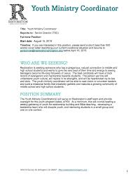 Sample Resume Youth Director by Youth Program Coordinator Cover Letter