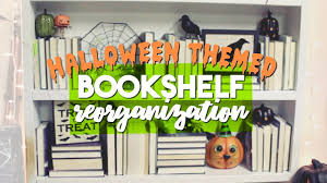 bookshelf reorganizing halloween themed mini decor tour youtube