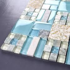 blue glass mixed stone mosaic tiles bathroom kitchen bedroom