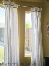 ceiling white grommet curtains with ceiling mounted curtain rods