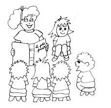 coloriage enfants écoutant la maitresse tête à modeler