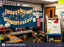 kindergarten classroom showing teaching aids and alphabet cards