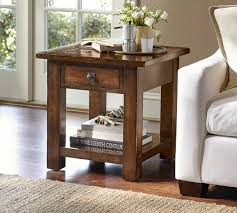 rustic square coffee table benchwright square side table rustic mahogany pottery barn