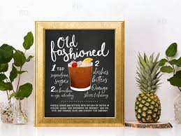 old fashioned cocktail drawing old fashioned chalkboard cocktail with recipe printable wall