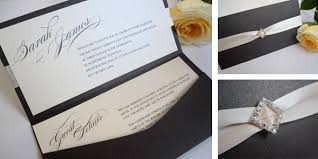 pocketfold invitations pocketfold wedding invitation with ribbon and diamante ribbon