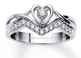 carved bridal heart shape design bridal jewelry ring set with 1 4 ct tw diamond