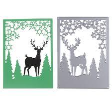 christmas deer border tree metal dies cutting decoration
