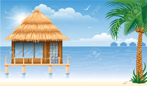 wooden water bungalow on coast of tropical sea vector