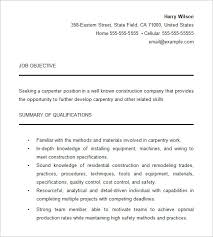 Job Objective In Resume by Carpenter Resume Template U2013 9 Free Samples Examples Format