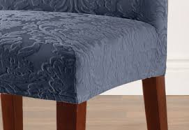 Dining Chair Short Slipcovers Sure Fit Stretch Jacquard Damask Short Dining Chair Covers