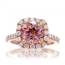 sapphire accent engagement rings peachy pink chatham sapphire engagement ring with halo