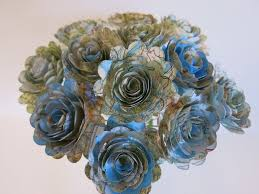 paper flowers scalloped world atlas roses 1 5 paper flowers on stems one