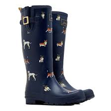 buy boots worldwide shipping joules printed wellies navy dogs uk 4 s shoes boots
