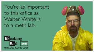 Funny Breaking Bad Memes - funny breaking bad ecard you re as important to this office as