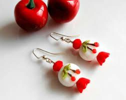 rockabilly earrings cherry earrings glass cherry earrings rockabilly earrings