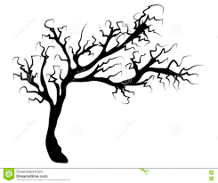halloween creepy scary bare tree vector symbol icon design stock