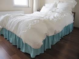 bedroom white linen duvet cover with blue skirt for bed covering idea