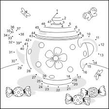 connect the dots and coloring page with teapot commercial use allowed