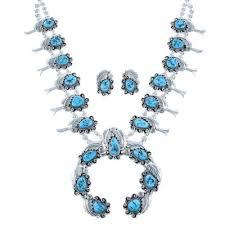 turquoise necklace set images Navajo turquoise sterling silver leaf squash blossom necklace set jpg