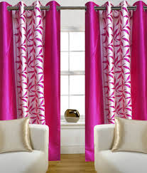 Snapdeal Home Decor 55 Off On Homefab India Pink Floral Window Curtain Set Of 8 5x4
