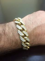 diamond link bracelet gold images 14k yellow gold cuban link diamond bracelet 14k diamond jpg